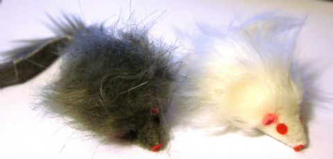 LARGE FUR MOUSE LONG HAIRED CATNIP CAT TOY GREY OR WHITE